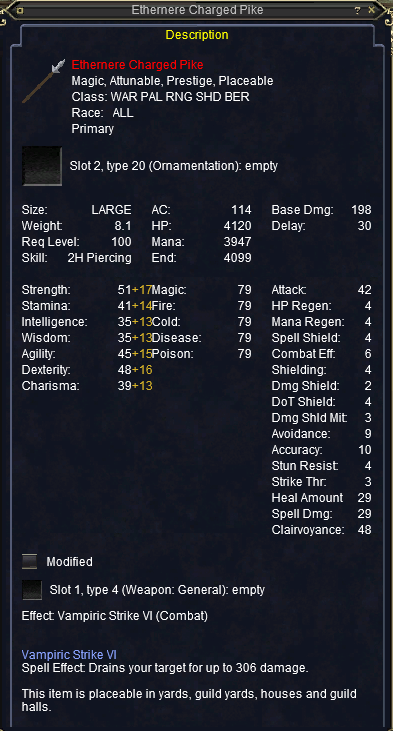 Ethernere Charged Pike stats