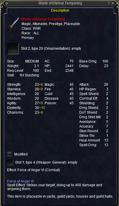 Blade of Eternal Tempering stats